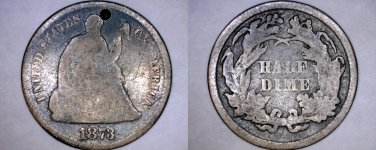 1873-P Seated Liberty Silver Half Dime - Hole Marked