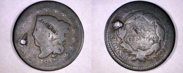 1817 United States Coronet Head 1 Cent - Holed