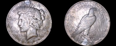 1923-D Peace Silver Dollar - Plugged