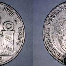 1866/56 Y.B Peruvian 1 Sol World Silver Coin -  Peru - Holed