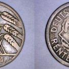 1924 F German 10 Reichspfennig World Coin -  Germany Weimar Republic