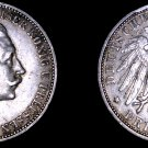 1909-A German States Prussia 3 Mark World Silver Coin