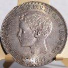 1897-SGV Philippino 1 Peso World Silver Coin - Philippines Spanish Admin - Holed