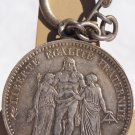 1877-A French 5 Franc World Silver Coin Keychain - France - Hercules