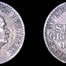 1865-A German States Prussia 1 Groschen World Silver Coin -  Germany