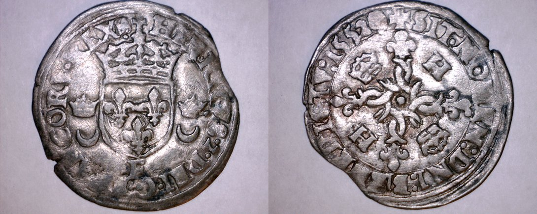 1552-F French Douzain Aux Crescent World Coin - France Henry II