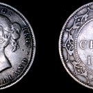 1882-H Newfoundland 20 Cent World Silver Coin - Canada