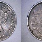1880-H Canada 5 Cent World Silver Coin - Canada - Toned - Portrait F-2