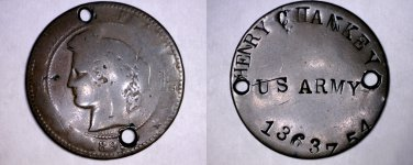 1899 World War I U.S. Army Soldier's Token on 1899 French 10 Centimes - Holed