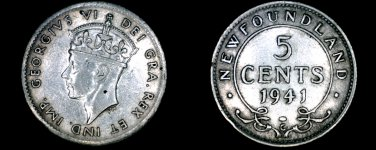 1941-C Newfoundland 5 Cent World Silver Coin - Canada