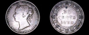 1899 Newfoundland 50 Cent World Silver Coin - Canada