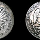 1862-Go YF Mexico First Republic 2 Reales World Silver Coin