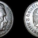 1936-G German 5 Reichsmark World Silver Coin - Germany 3rd Reich - Hindenburg