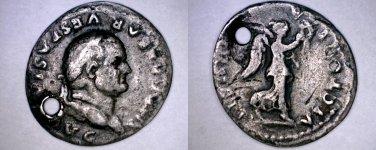 79-89AD Roman Empire Vespasian AR Quinarius Ancient Roman Coin - Holed