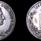1844 Danish 1/2 Specie Daler World Silver Coin - Denmark - Carl XIV - Holed