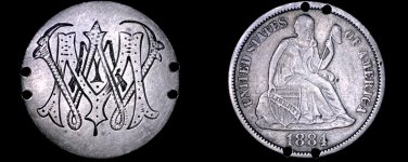 """Love Token """"""""WMM"""""""" on 1884 Seated Liberty Dime Silver Coin - Holed"""