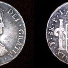 1821-PTS PJ Bolivian 8 Reales World Silver Coin - Ferdinand VII- Holed