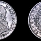 1867-XXIR Italian States Papal States 5 Soldi World Silver Coin - Pius IX