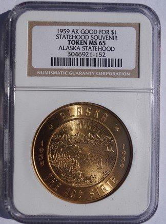 1959 Alaska Statehood Gilt Souvenir Good for $1 - NGC MS65