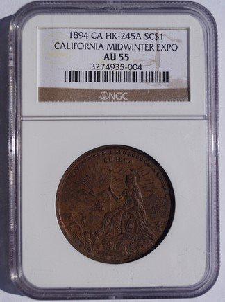 1894 California Midwinter Expo SC$1- HK-245A - NGC AU55 - So-Called Dollar