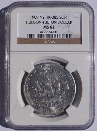 1909 NY Hudson-Fulton Dollar SC$1- HK-385 - NGC MS62 - So-Called Dollar