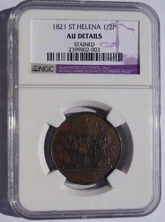 1821 Saint Helena & Ascension 1/2 Penny World Coin - NGC AU Details