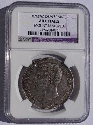 1875(75)-DEM Spanish 5 Peseta World Silver Coin - Spain - NGC AU Details