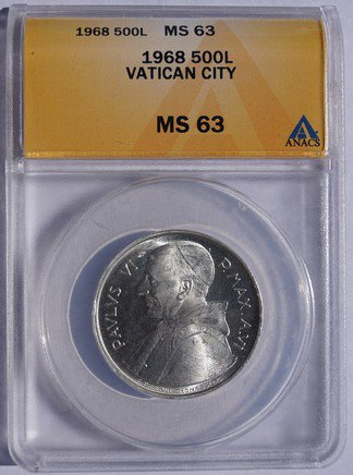 1968 Vatican City 500 Lire World Silver Coin - Catholic Church Italy ANACS MS63