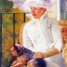 Lady with dog by Cassatt - A3 Poster