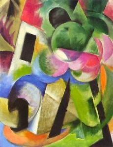 House with trees by Franz Marc - A3 Poster