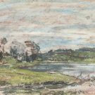 Landscape on the Banks of the Touques - A3 Poster