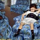 Small girl in the blue armchair by Cassatt - A3 Paper Print