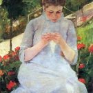 Young woman sewing in the garden by Cassatt - A3 Poster
