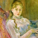 Girl with Cat - 1892 - 24x18 IN Canvas