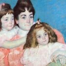 Madame A.F. Aude with her two daughters by Cassatt - 24x18 IN Canvas