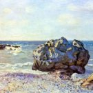Bay of long-country with rock by Sisley - A3 Poster