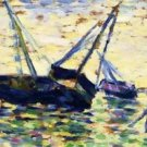 Three Boats in a Seascape 1885 - 24x18 IN Canvas