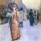 New York street scene by Hassam - 24x32 IN Canvas