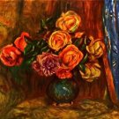 Still life roses before a blue curtain by Renoir - 24x18 IN Canvas