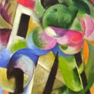 House with trees by Franz Marc - A3 Paper Print