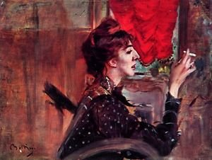 The red curtain by Giovanni Boldini - 24x18 IN Canvas
