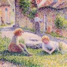 Children on a farm by Pissarro - A3 Paper Print