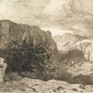 Woman and Child on a Mountain Landscape, 1865 - A3 Poster