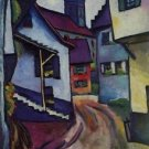 Street with a church in Kandern by Macke - Poster Print (24 X 18 Inch)