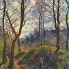 Landscape with big trees by Pissarro - 24x32 IN Canvas
