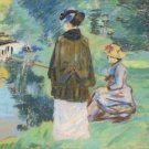 Madame Guillaumin Fishing  with Her Daughter Madeleine - 24x18 IN Poster
