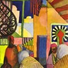 In the bazaar by August Macke - A3 Poster