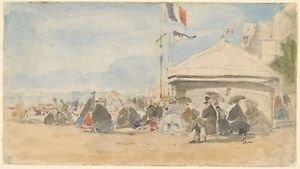 Beach House with Flags at Trouville, 1865 - 24x18 IN Poster
