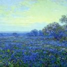 Field of Bluebonnets under Cloudy Sky - A3 Poster