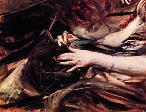 Hands of a woman sewing by Giovanni Boldini - A3 Paper Print